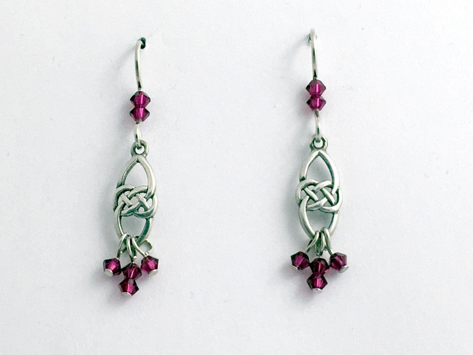 Sterling Silver Celtic knot dangle Earrings-ruby color crystal dangles, knots