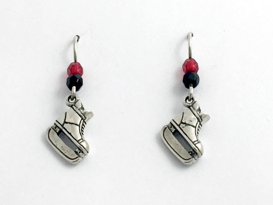 Sterling Silver hockey ice skate dangle earrings- skates, team colors, skating