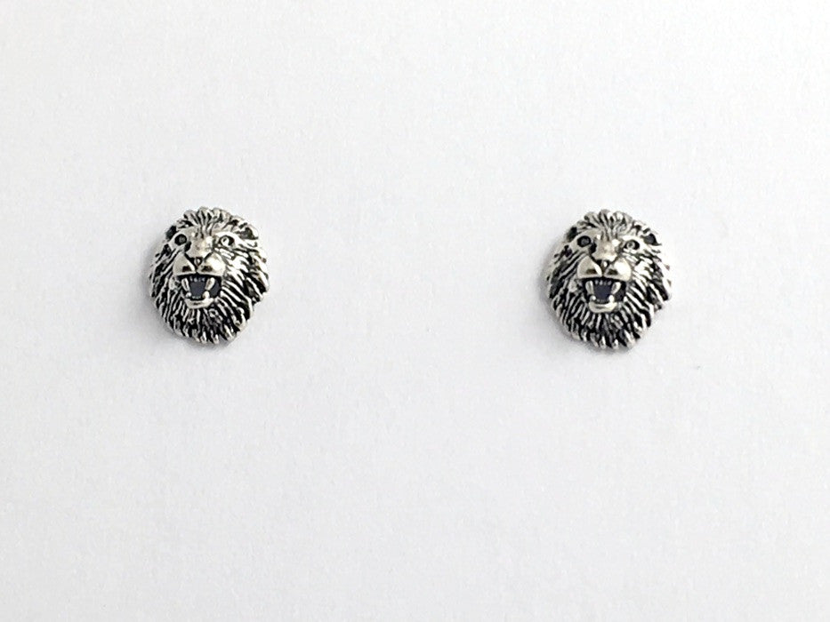 Sterling Silver and Surgical Steel Lion Head stud earrings-Roaring Lions, Mane