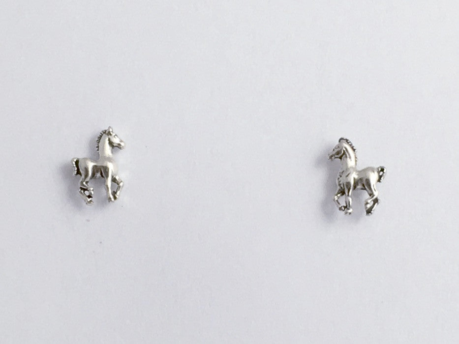 Sterling Silver & Surgical Steel tiny horse stud earrings-pony, colt, foal,equus