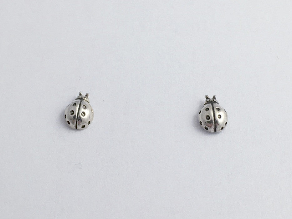 74f389f21 Sterling Silver & Surgical Steel tiny ladybug stud earrings- insects, lady  bug