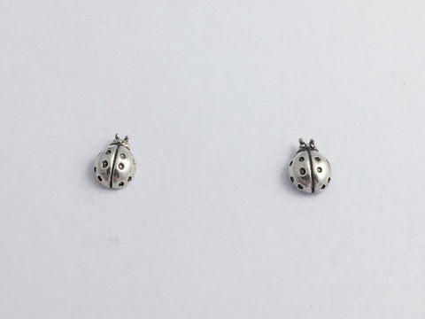 Sterling Silver & Surgical Steel tiny ladybug stud earrings- insects, lady bug