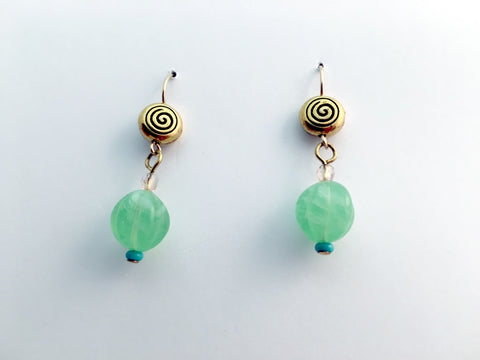 Gold tone Pewter & 14kgf Celtic spiral dangle earrings- green glass, spirals