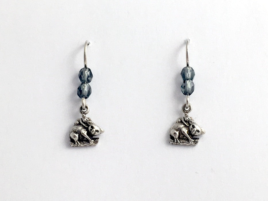 Sterling silver small Koala bear w/baby dangle earrings-Australia, grey, koalas
