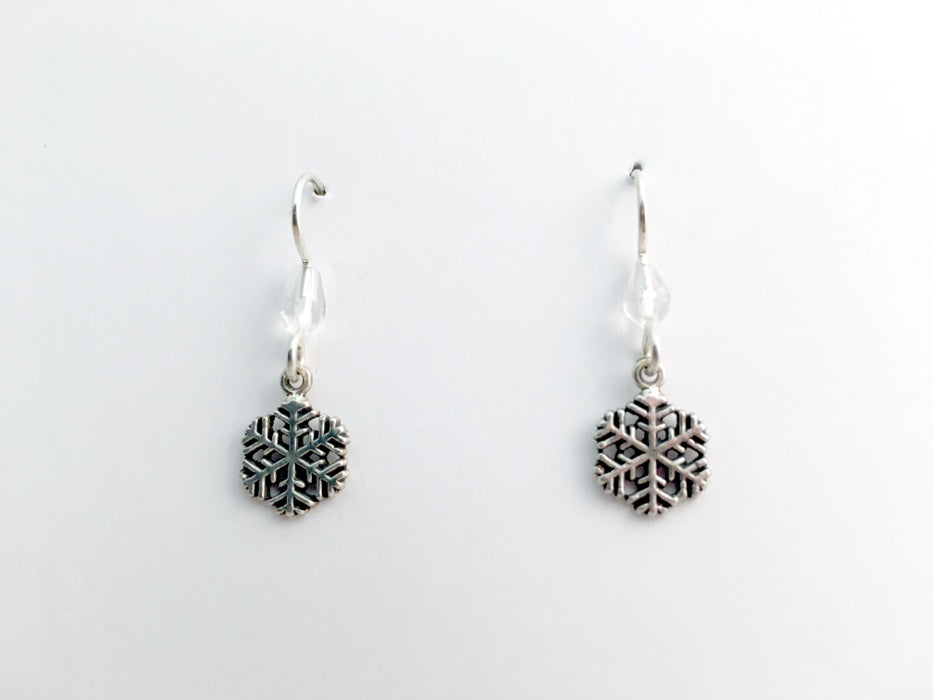 Sterling Silver medium snowflake dangle earrings-holiday- winter- snow- ski,sled