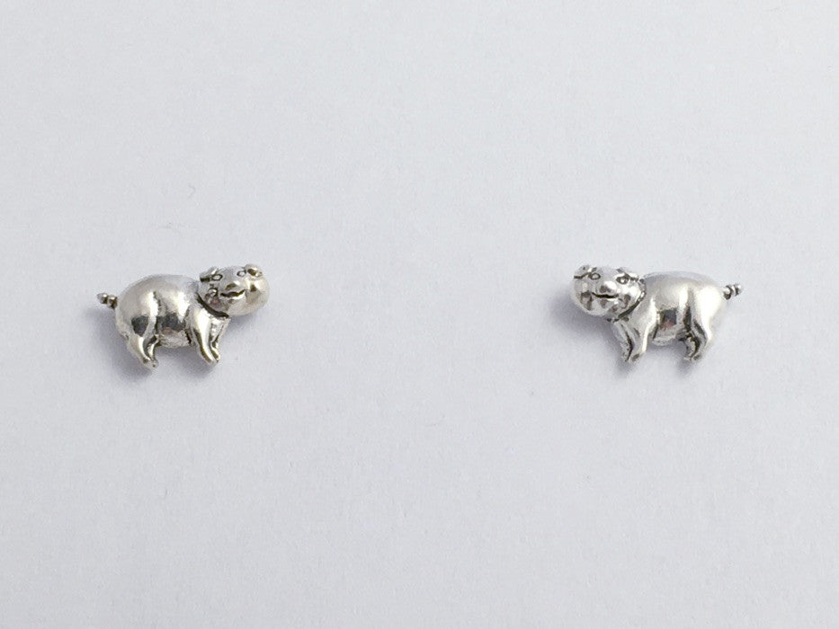 Sterling Silver and Surgical Steel Happy Pig stud earrings- swine-pigs, hog,hogs