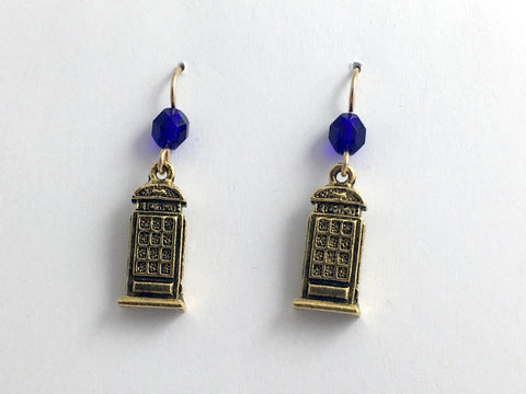 Gold tone Pewter & 14kgf  telephone booth dangle earrings-tardis like,telephones