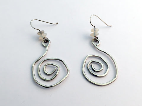 Sterling Silver large funky hammered open Spiral  Earrings-opal, spirals,opals
