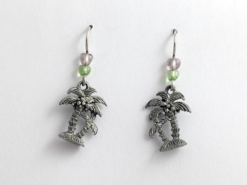 Pewter & Sterling silver palm tree dangle earring-island -tropic, palms, beach