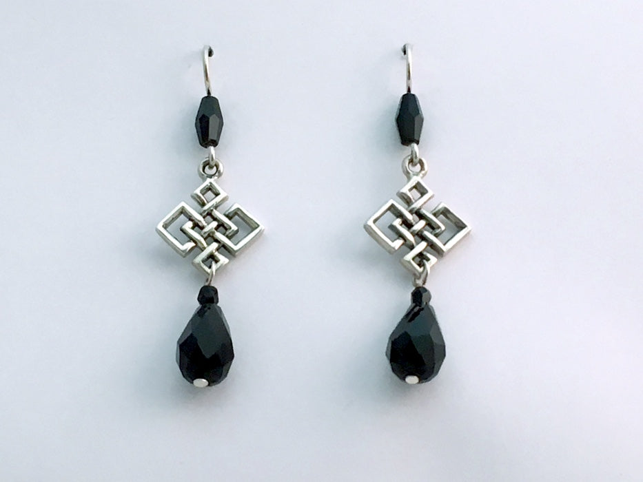 Sterling Silver Large angular Celtic Knot dangle earrings-black crystal, knots