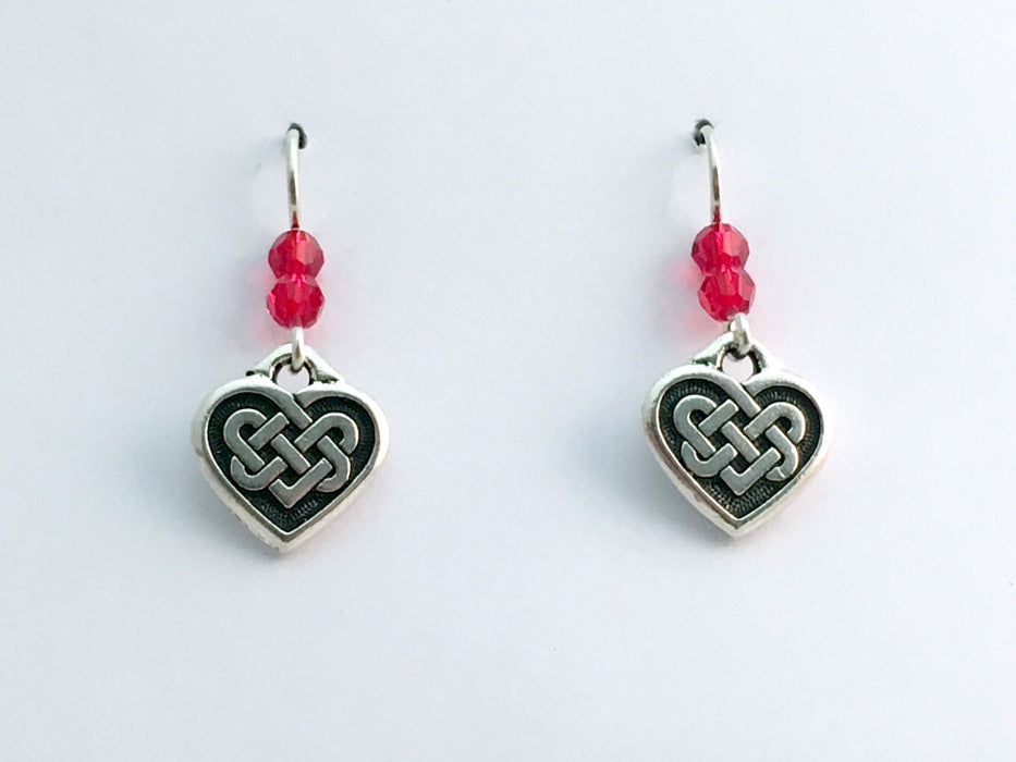 Pewter & sterling silver Celtic Knot Heart dangle earrings-red crystal- knots
