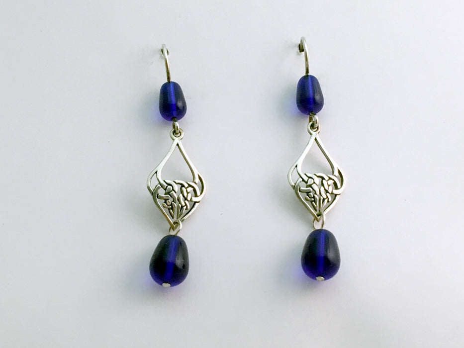 Sterling Silver Celtic Knot drop Earrings- Cobalt Blue Glass beads , knots