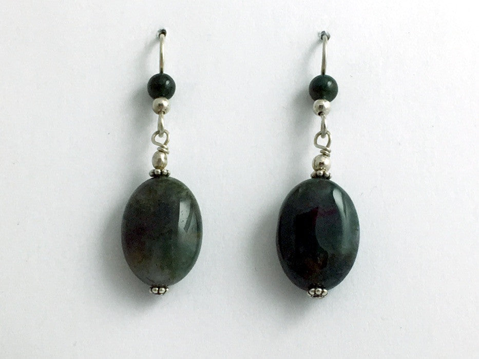 Sterling silver and Moss Agate oval bead dangle earrings- 1 7/8 inch long,