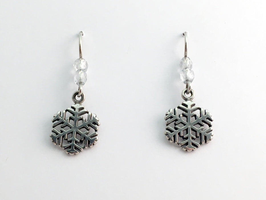 Sterling Silver  snowflake dangle earrings -holiday- winter- snow- ski,sled