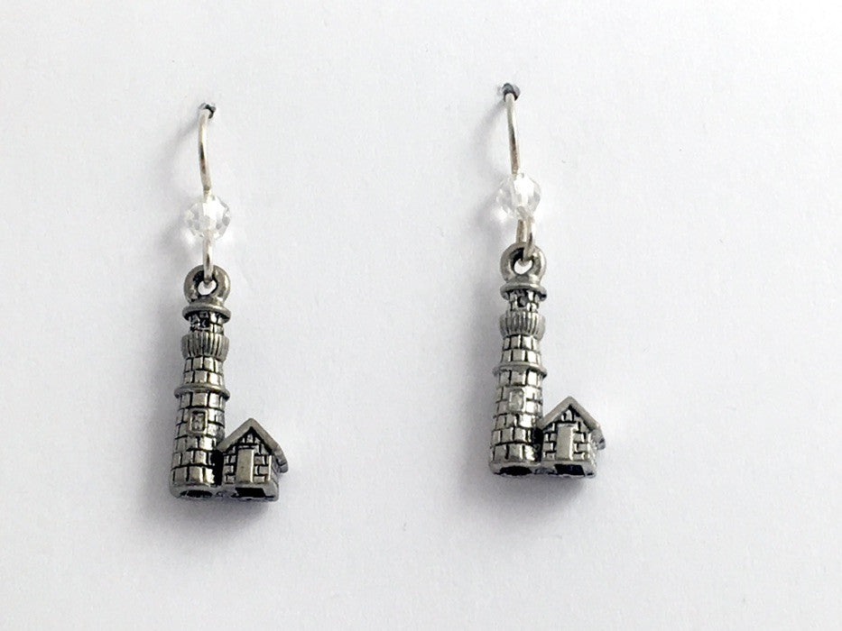 Pewter & Sterling silver  Lighthouse dangle earring-Ocean, Light House, Mariner