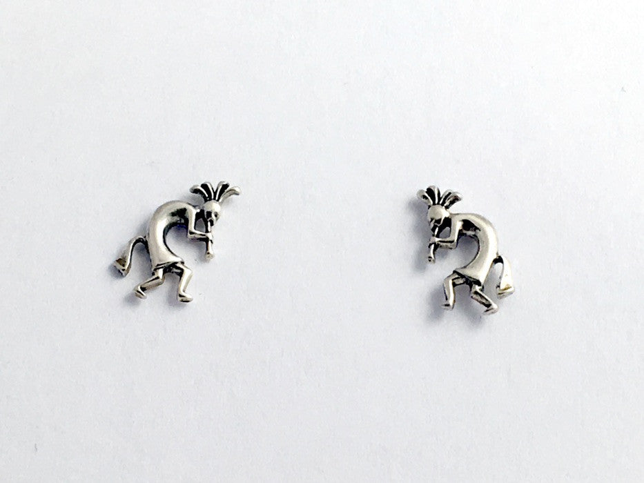 Sterling Silver & Surgical Steel  Kokopelli stud earrings-Trickster, Southwest