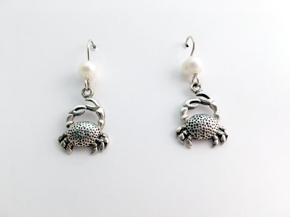 Sterling silver Crab dangle earrings-ocean- crustaceans-cancer-shellfish, crabs