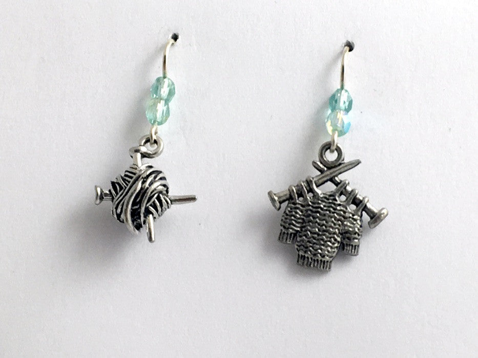 Pewter & sterling silver knitting earrings-knit, ball of yarn, sweater, knitter