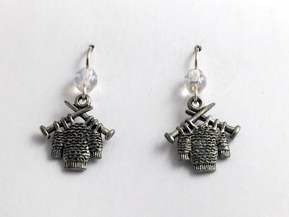 Pewter & sterling silver sweater w/knitting needles earrings- knit, knitter,purl