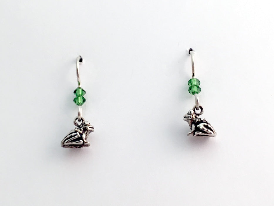 Sterling silver tiny sitting frog dangle earrings-toad, frogs, toads-crystal