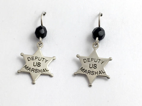Sterling Deputy US Marshal dangle earrings-Law Enforcement, star, Marshals,badge