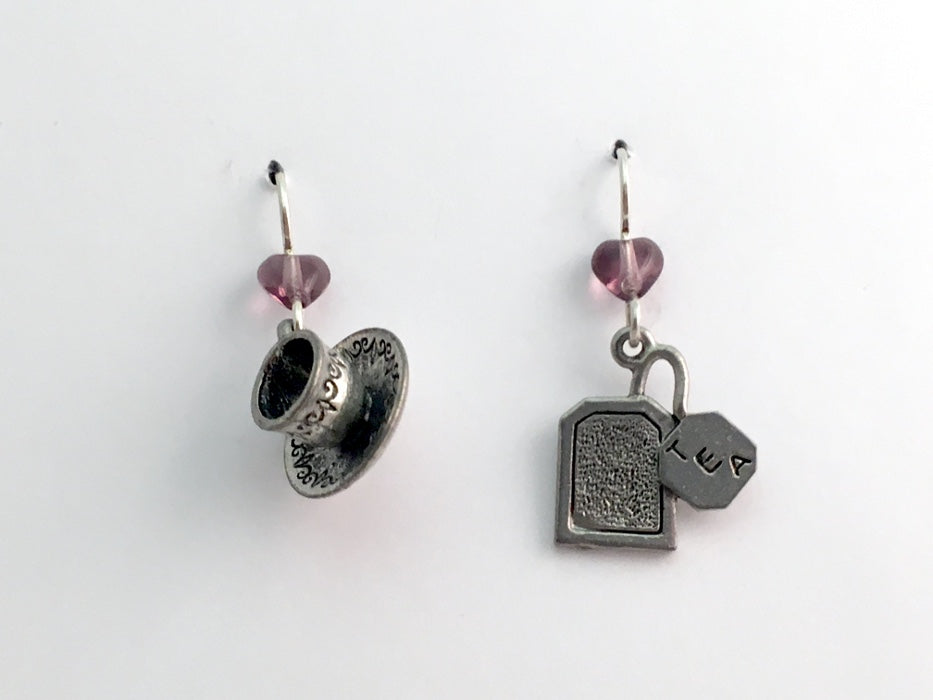 Pewter & sterling silver 3-D tea cup & saucer & tea bag dangle earrings- teabag