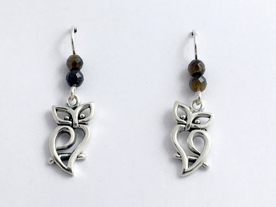 Sterling silver open Owl dangle earrings-owls, birds, bird of prey, tiger eye