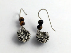 Sterling silver hedgehog dangle earrings-tiger eye-animal-hedgehogs, hedgepig