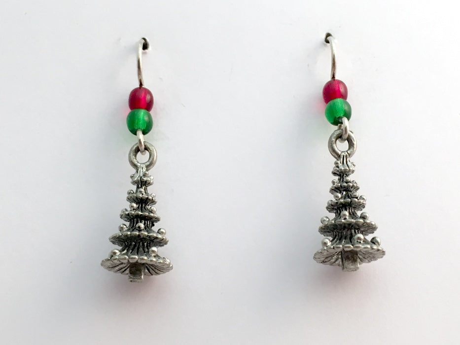 Pewter & Sterling Silver 3-D Christmas Tree dangle Earrings- holiday, trees