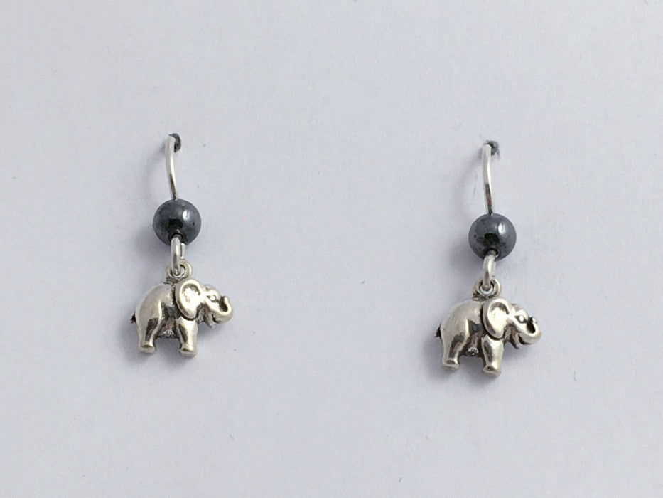 Sterling silver tiny elephant dangle earrings-African, elephants, Asian,hematite