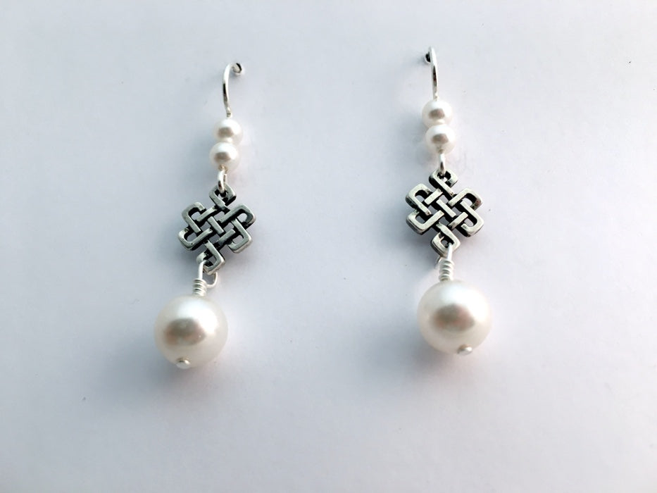 Pewter & Sterling Silver Celtic Knot  Earrings-Endless- Eternal, Tibetan, glass