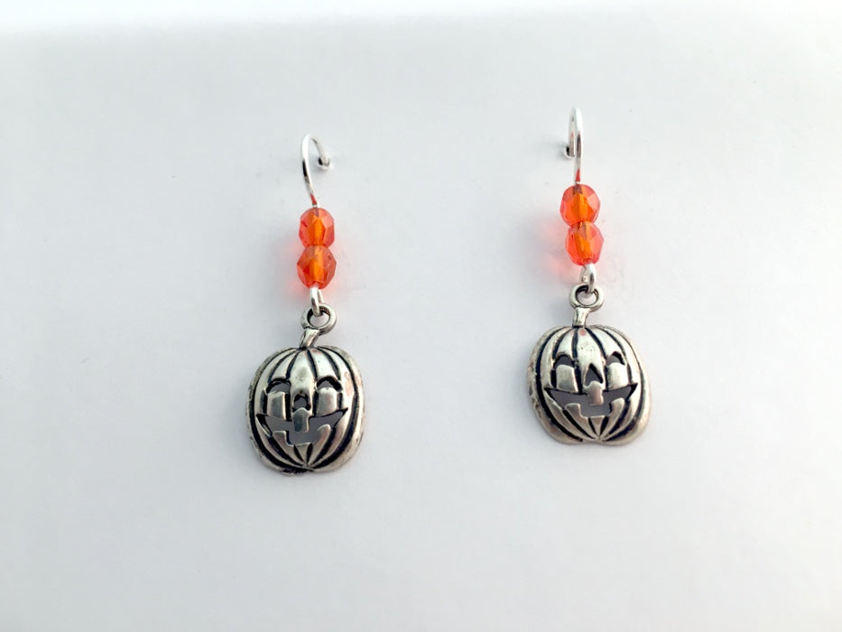 Sterling silver Jack O' Lantern dangle earring-Halloween,pumpkins,pumpkin,orange
