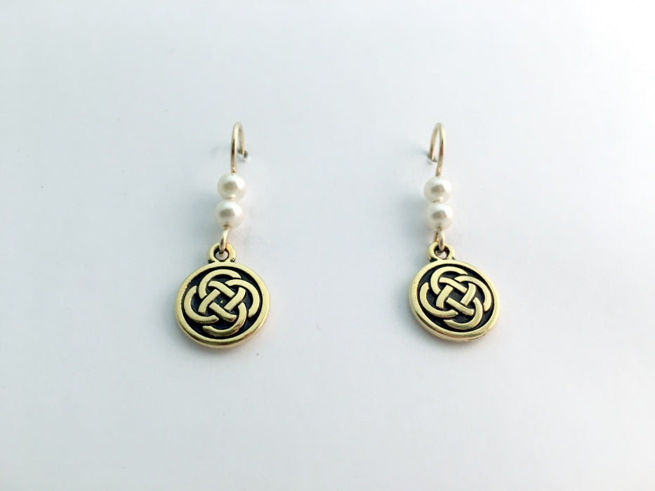 "Gold tone Pewter &14k gf Celtic medium Round Knot earrings- glass ""pearls"""