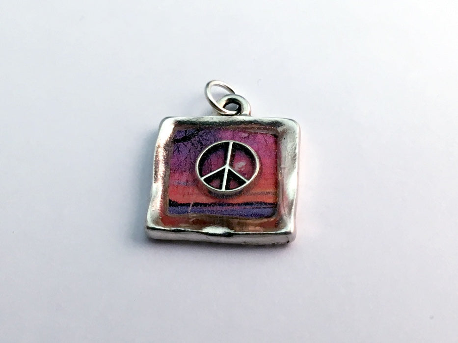 Square Pewter sunset & sterling silver Peace sign pendant-resin, world, peaceful