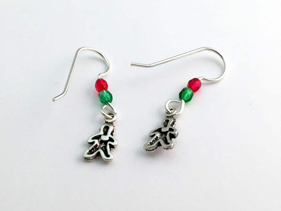 d8c9ab8d97b53 Sterling Silver tiny Gingerbread man dangle earrings-holiday,Christmas,  cookies