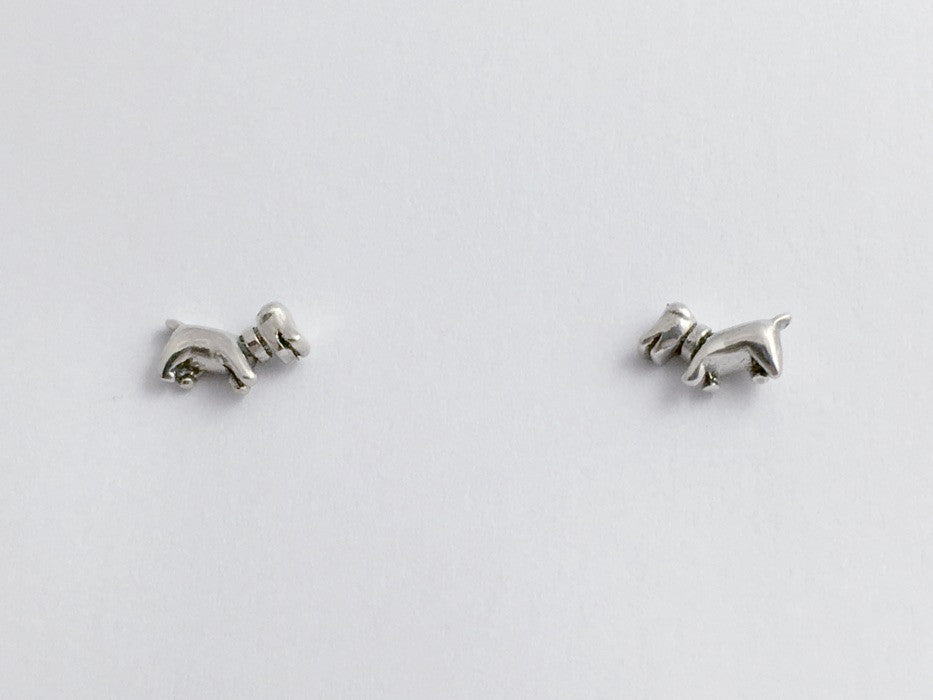 Sterling Silver tiny happy dachshund dog stud earrings- dogs, canine, dachshunds