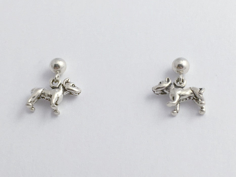 Sterling silver 4mm ball stud w/ tiny American Pit Bull Terrier dog Earrings