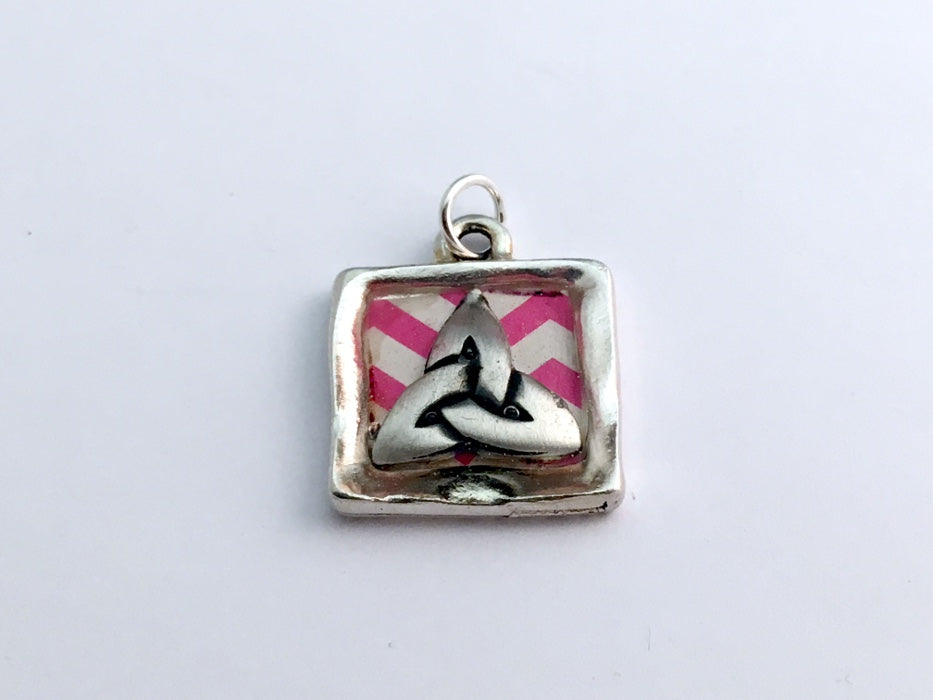 Square Pewter pendant with Celtic Trinity Knot, Pink and White stripes, Knots,
