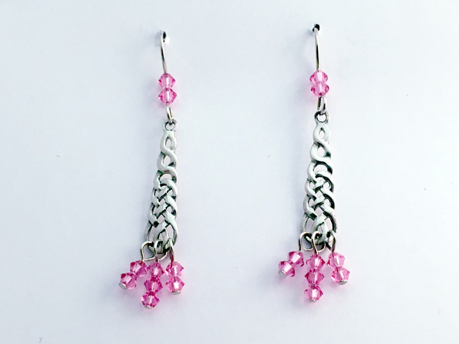 Sterling Silver Celtic long braid Knot dangle Earrings-pink crystal dangles
