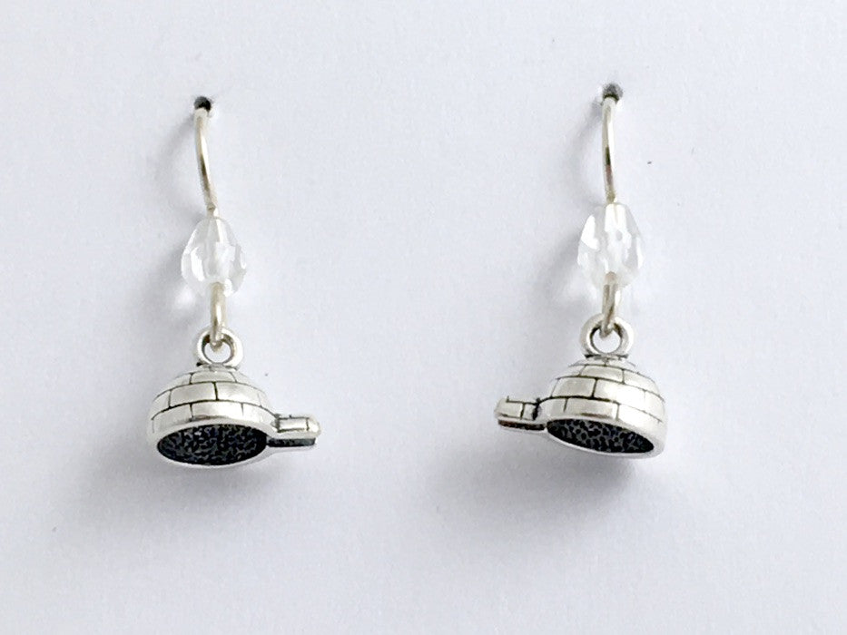 Sterling Silver tiny Igloo dangle earrings-snow house, Inuit, Canada, igloos,