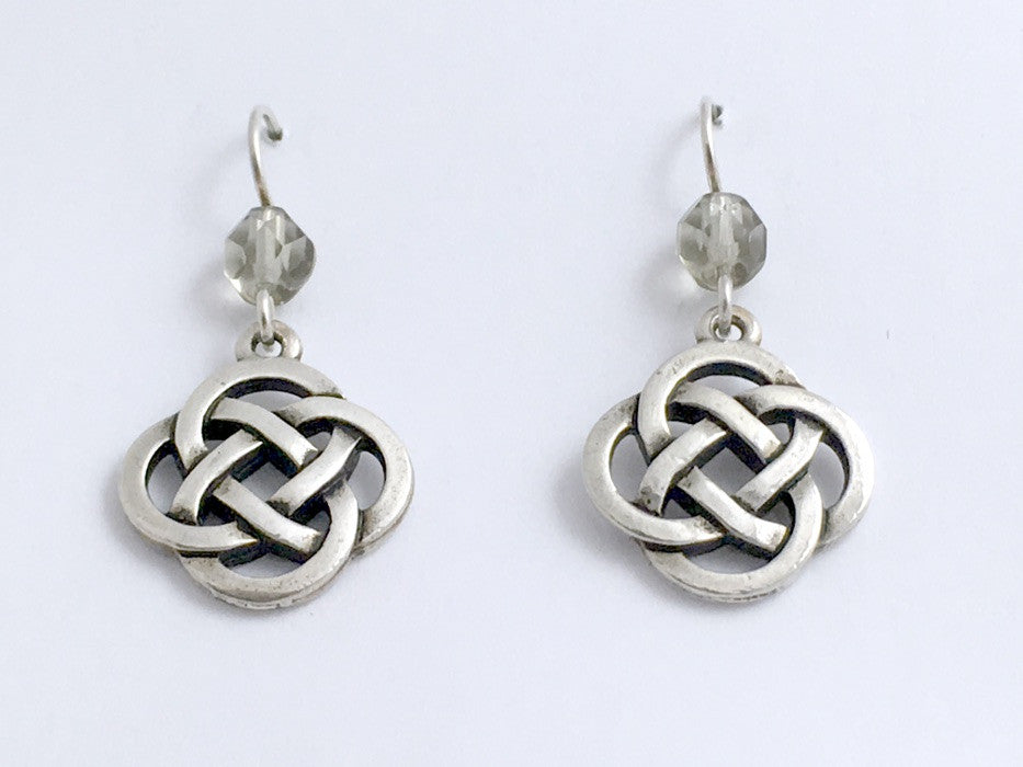Pewter & Sterling Silver large Round Celtic Knot dangle Earrings-grey glass,gray