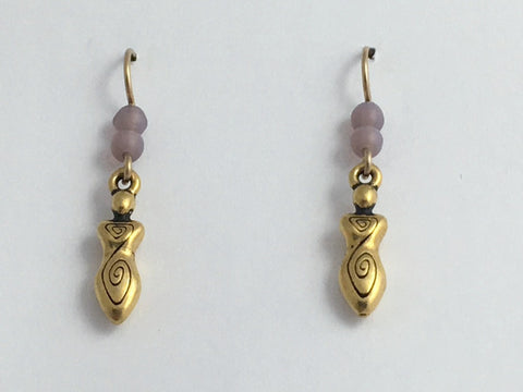 Gold tone Pewter & 14k GF Spiral Goddess dangle earrings- lavender glass,spirals