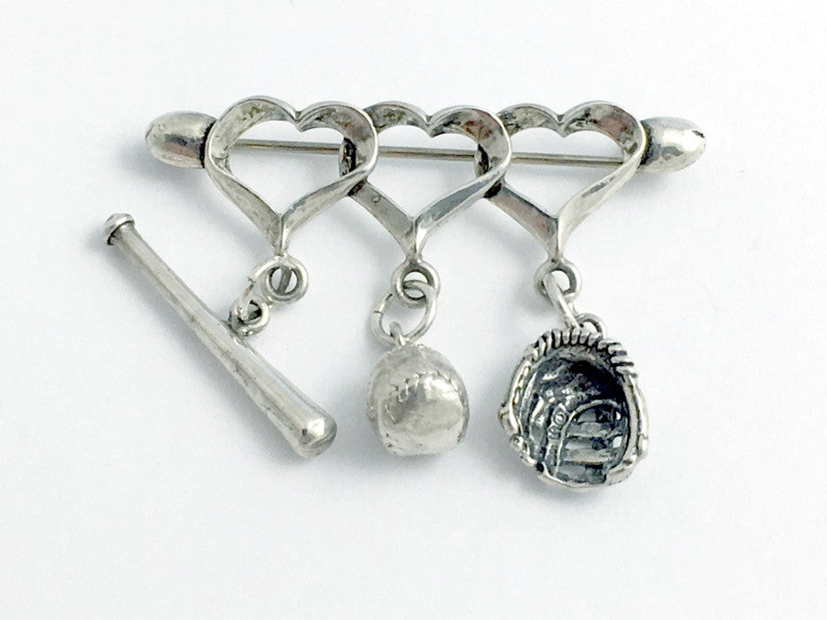 Sterling Silver Baseball Pin or Brooch - Hearts, Bat, Ball, Glove, Mitt,