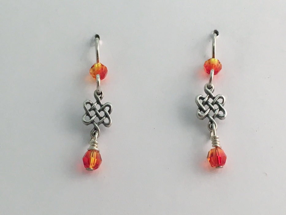 Sterling silver small Celtic knot dangle earrings-endless, orange dangle, Knots