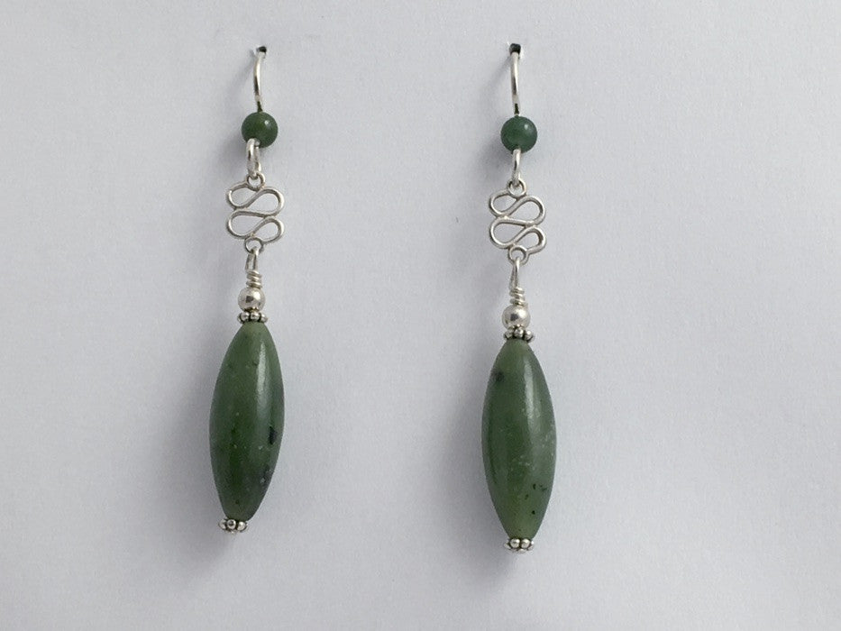 Sterling Silver  tiny swirl with jade dangle Earrings-elegant, 2 1/4 inches long