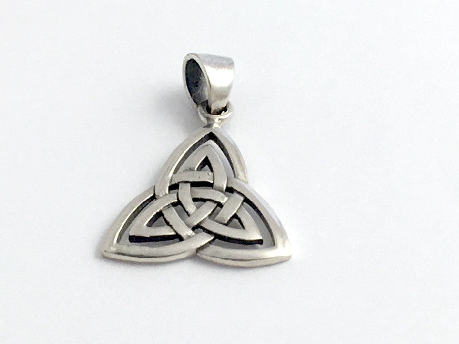 Sterling Silver Celtic Double Trinity Knot pendant w/ bail, Triquetra, Knots,