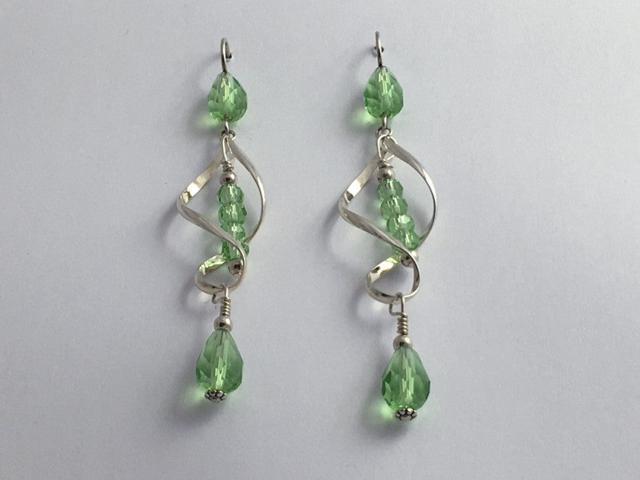 Sterling Silver long open twist drop Earrings- Celtic Knot, light green crystal