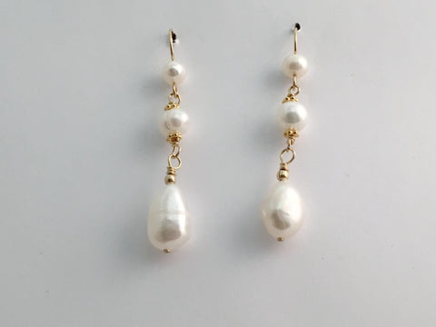 14k gold filled wire and Freshwater Pearl dangle earrings- 2 inches  long,