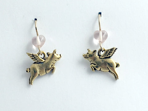 Gold tone Pewter &14k GF Flying Pig dangle earrings-when pigs fly, w/wings,