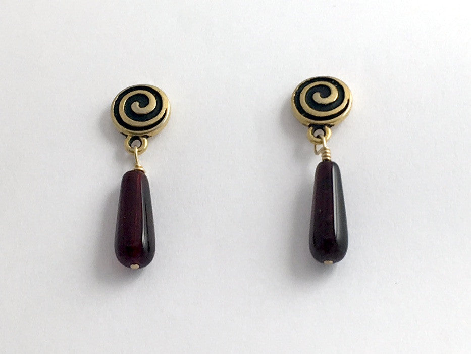 Gold Tone Pewter & surgical steel Spiral Stud with burgundy glass drop Earrings
